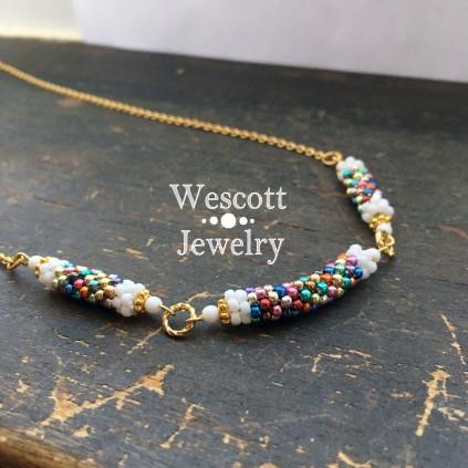 Beaded Bracelet set. Herringbone design Beaded Necklace Set Bracelet and Necklace Necklace Set Czech Bar Beads Beaded Necklace